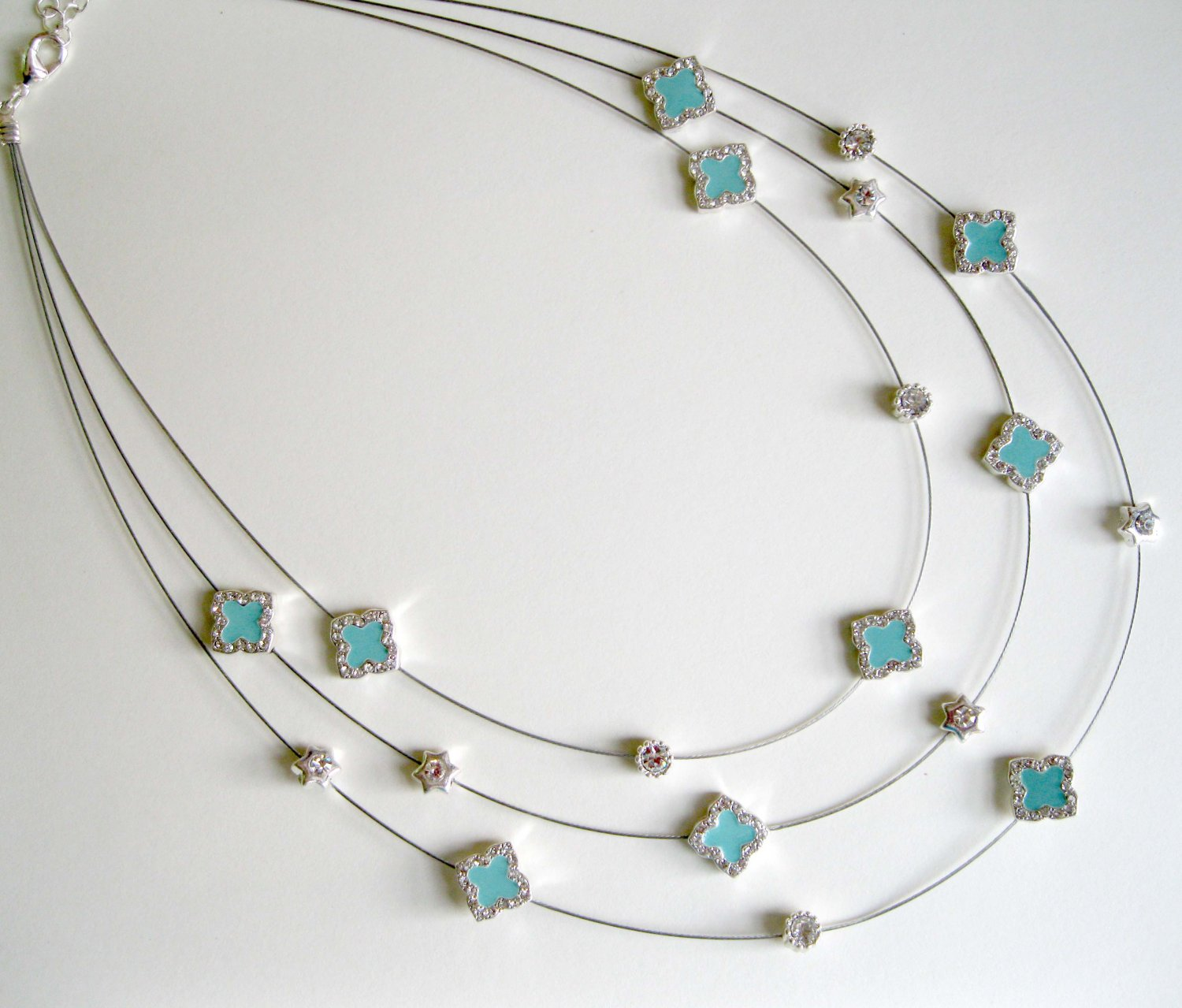On Sale: Blue necklace 3 rows with crystals and cross