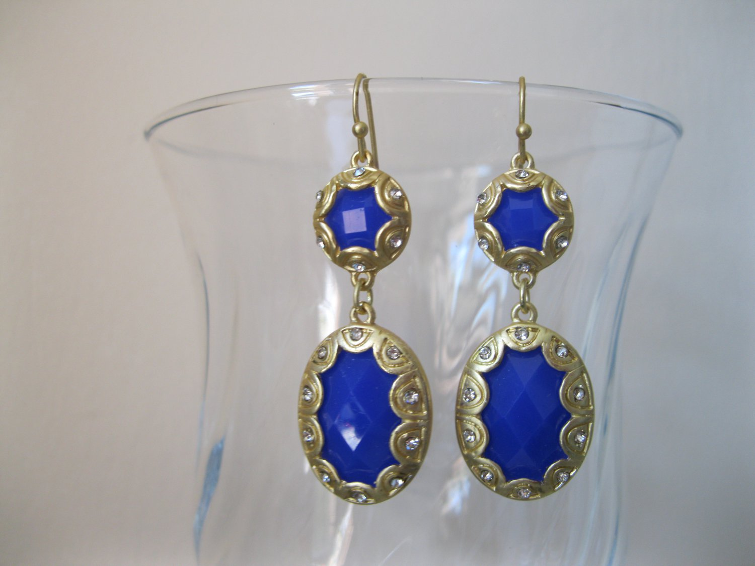 SALE: Trendy royal blue and gold with crystals drop earrings