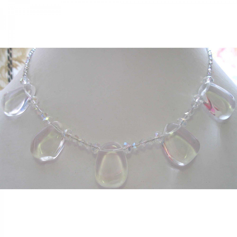 Designer semiprecious necklace in clear quartz crystal