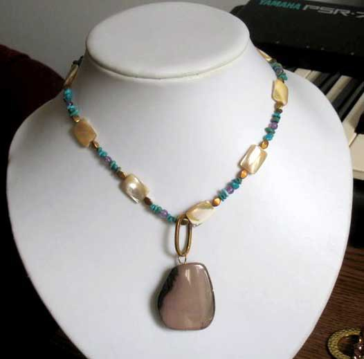 SALE: One of a kind designer turquoise mop agate pendant fashion necklace