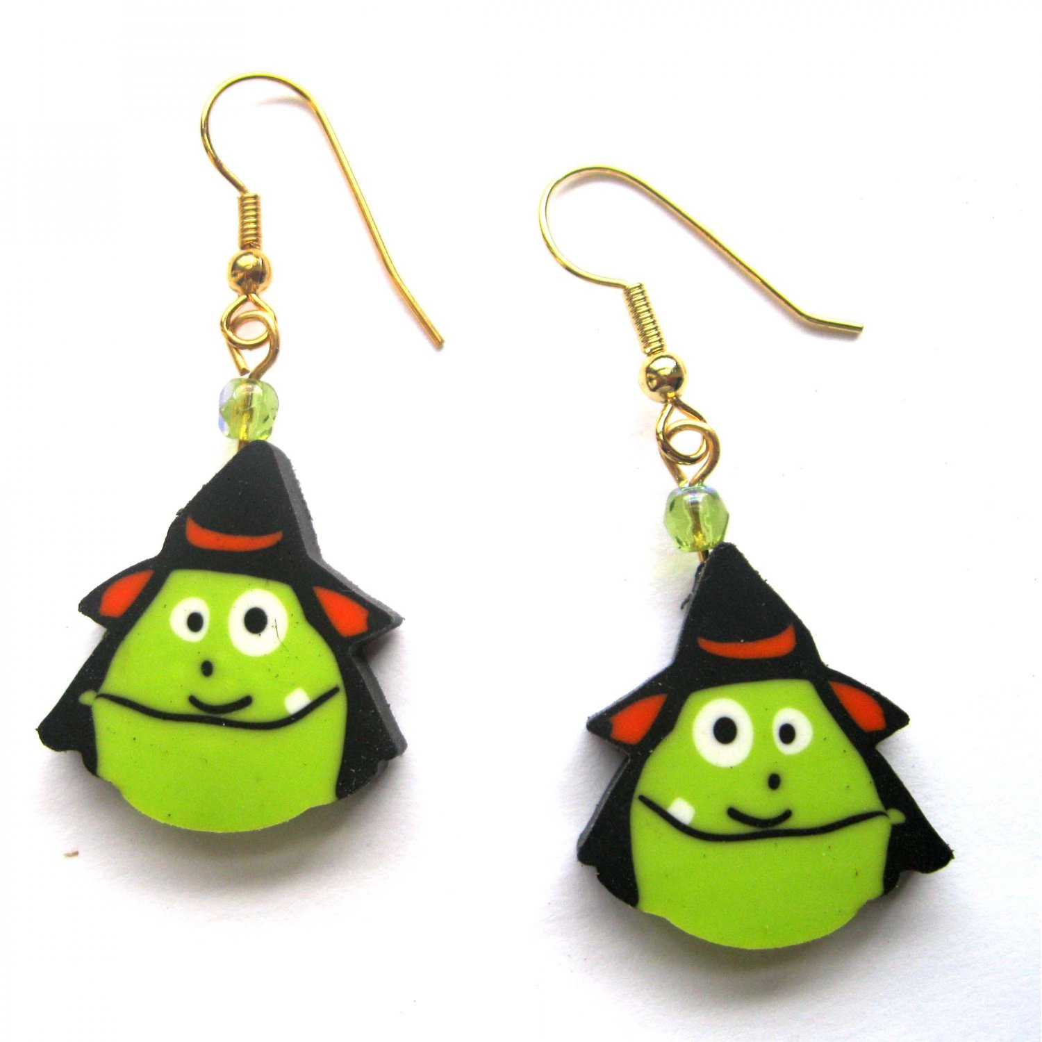 Halloween witch drop lime fashion earrings