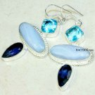 Blue agate Iolite and blue topaz sterling silver fashion earrings