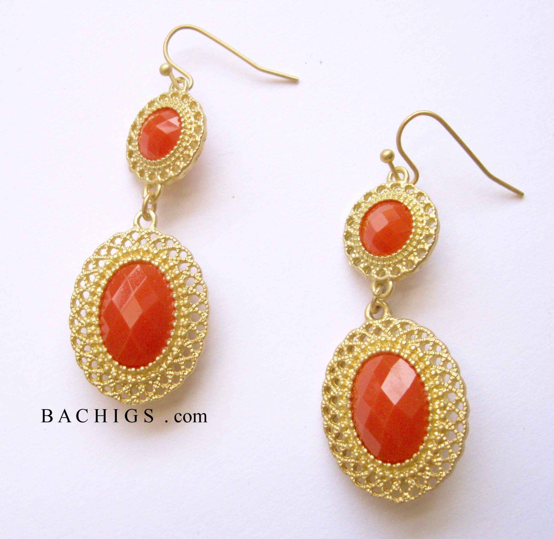 SALE: Trendy orange and gold drop fashion earrings