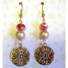 Red and gold drop fashion earrings