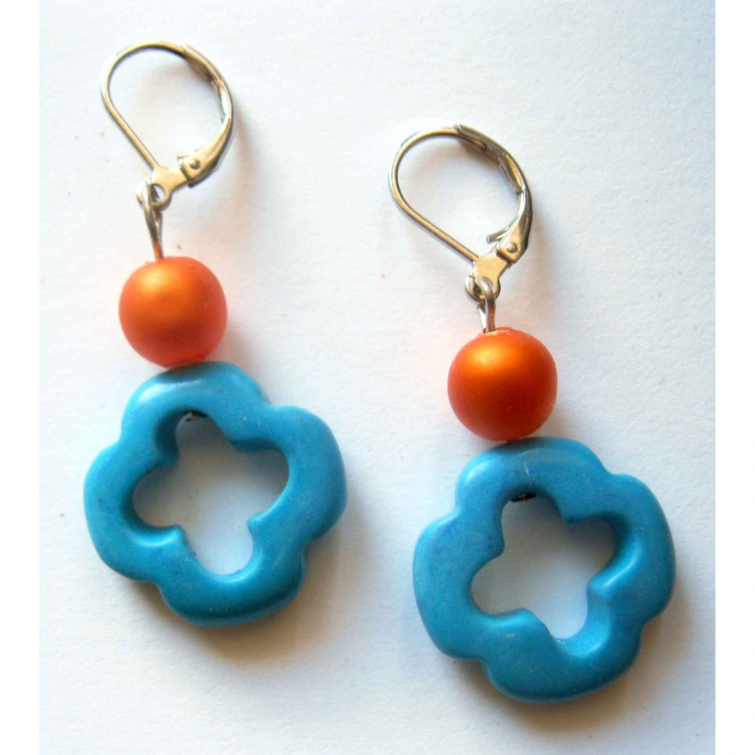 Blue cross semiprecious drop earrings with orange