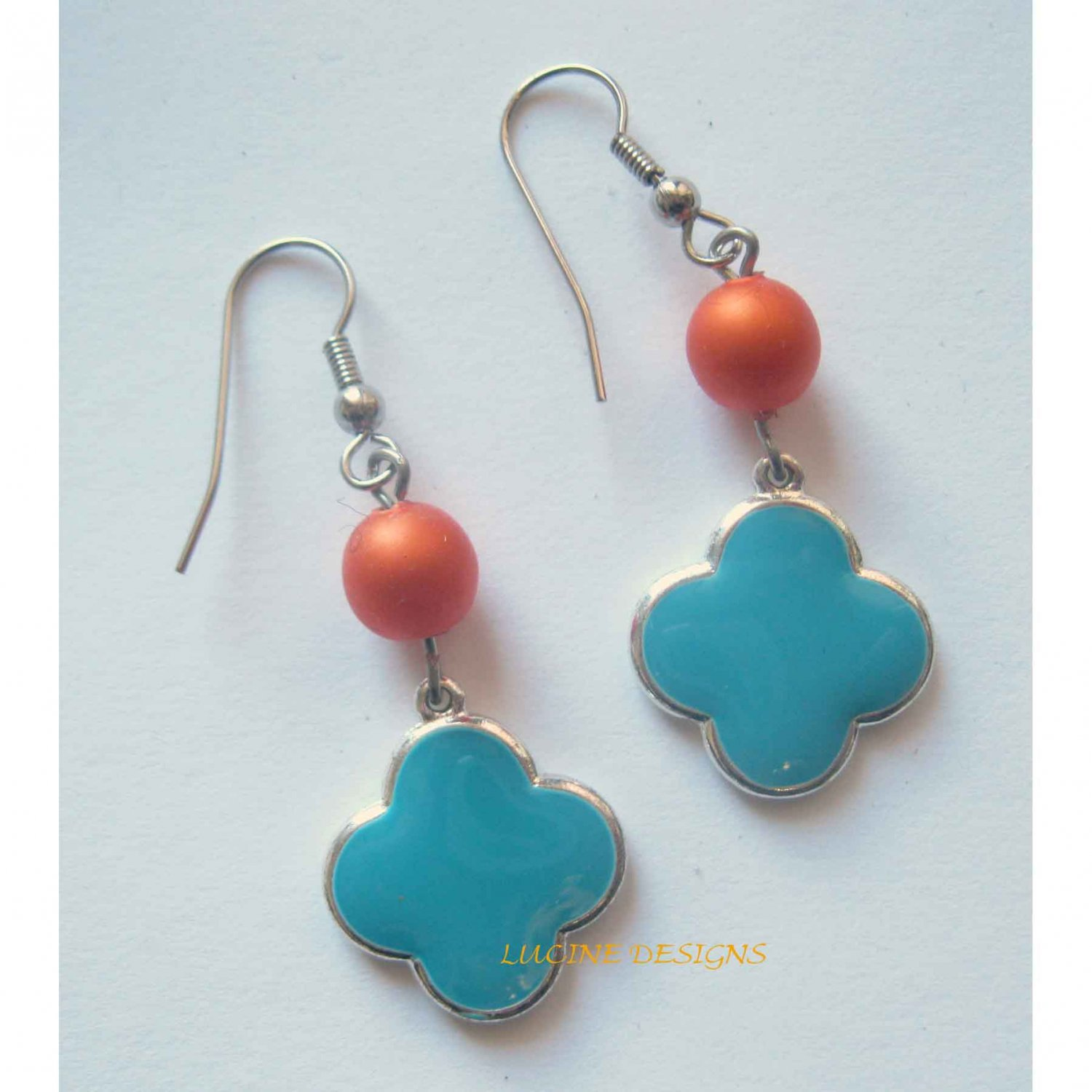 Blue clover drop earrings with orange