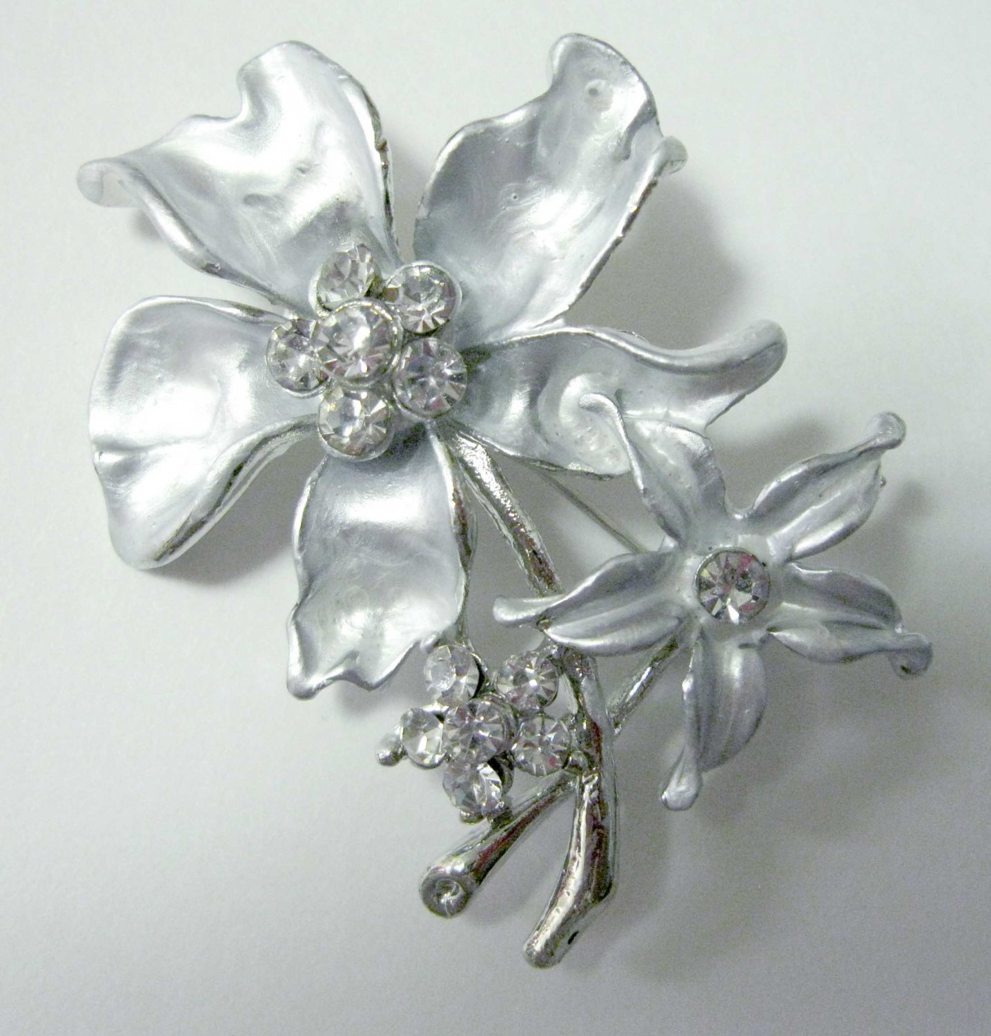 Silver flower with crystals