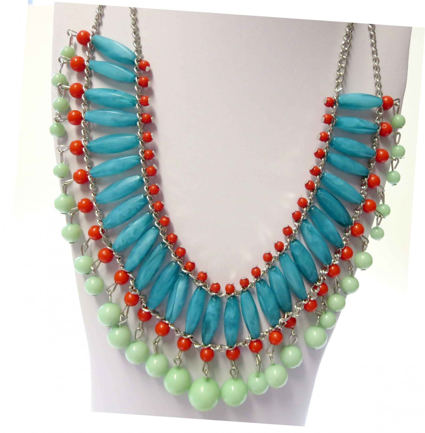 Fashion statement necklace turquoise red
