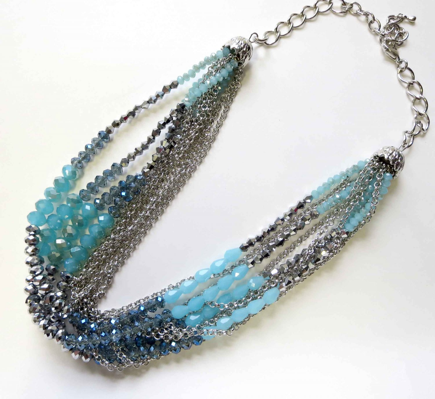 Ombre trendy blue and silver necklace with chains fashion necklace