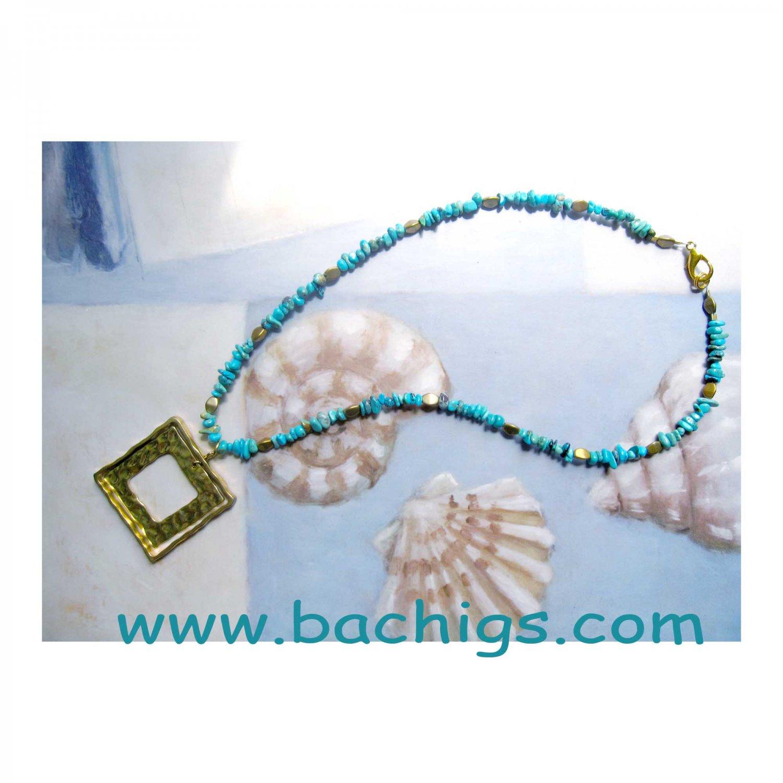 Semiprecious turquoise with square geometric gold pendant ooak