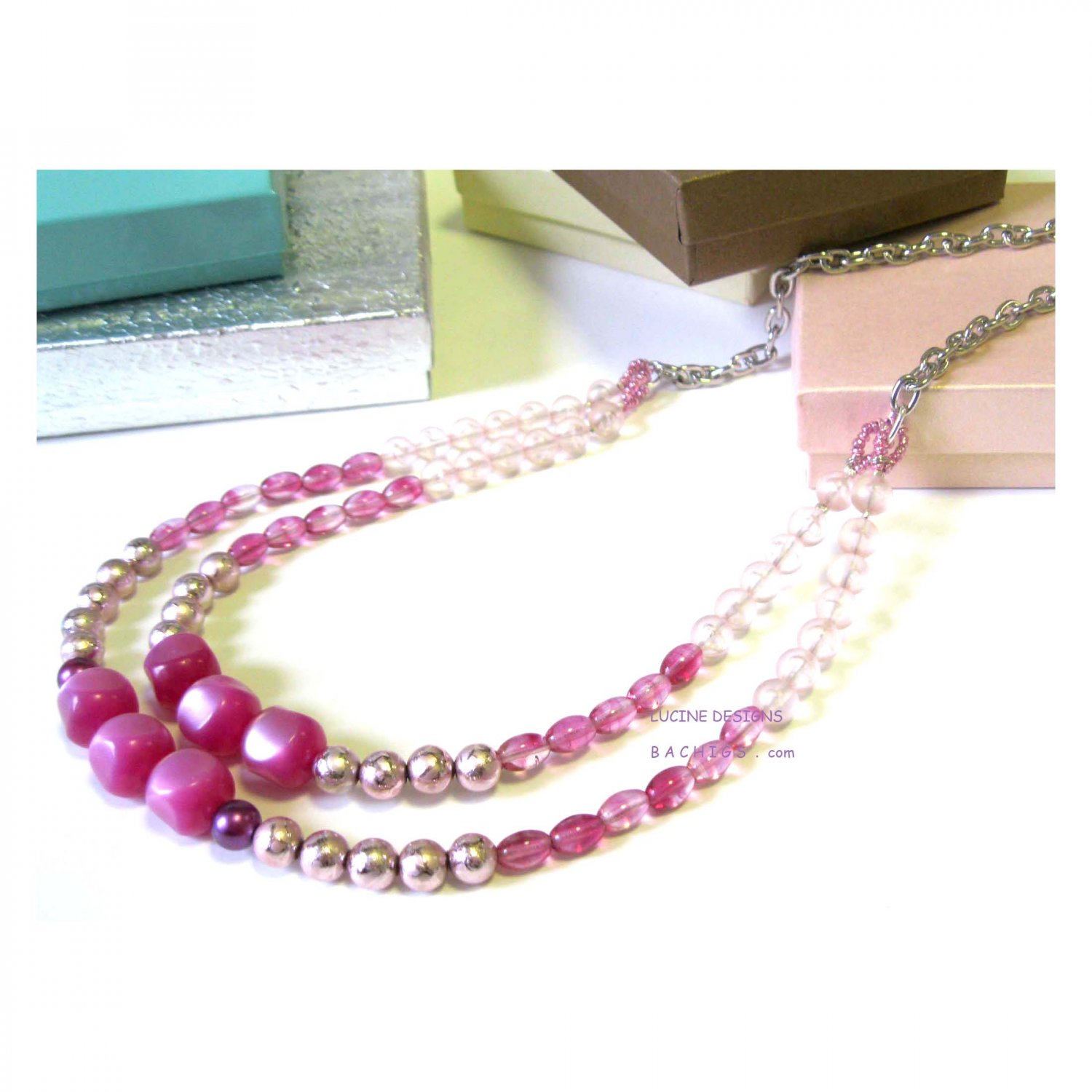 Pink ombre ooak chic fashion necklace, Jewelry, bridal fashion romantic ombre necklace, Chic