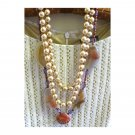 Semiprecious jasper with faux pearls multilayer ooak necklace