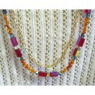 OOAK semiprecious amber, red and blue layered fashion neckla, one of a kind, Chic