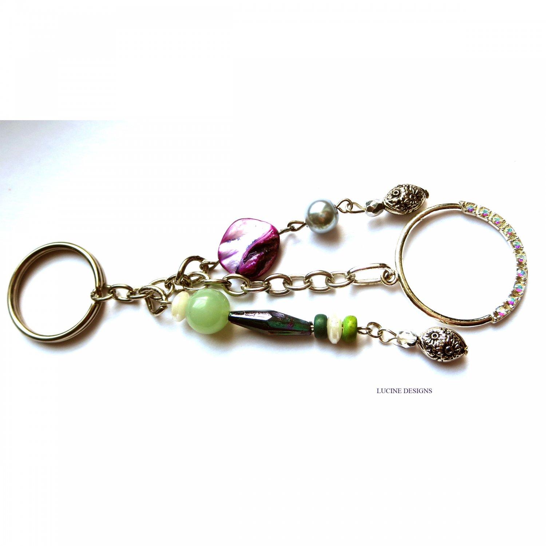 OOAK fashion keychain accessory purple green mop and jade