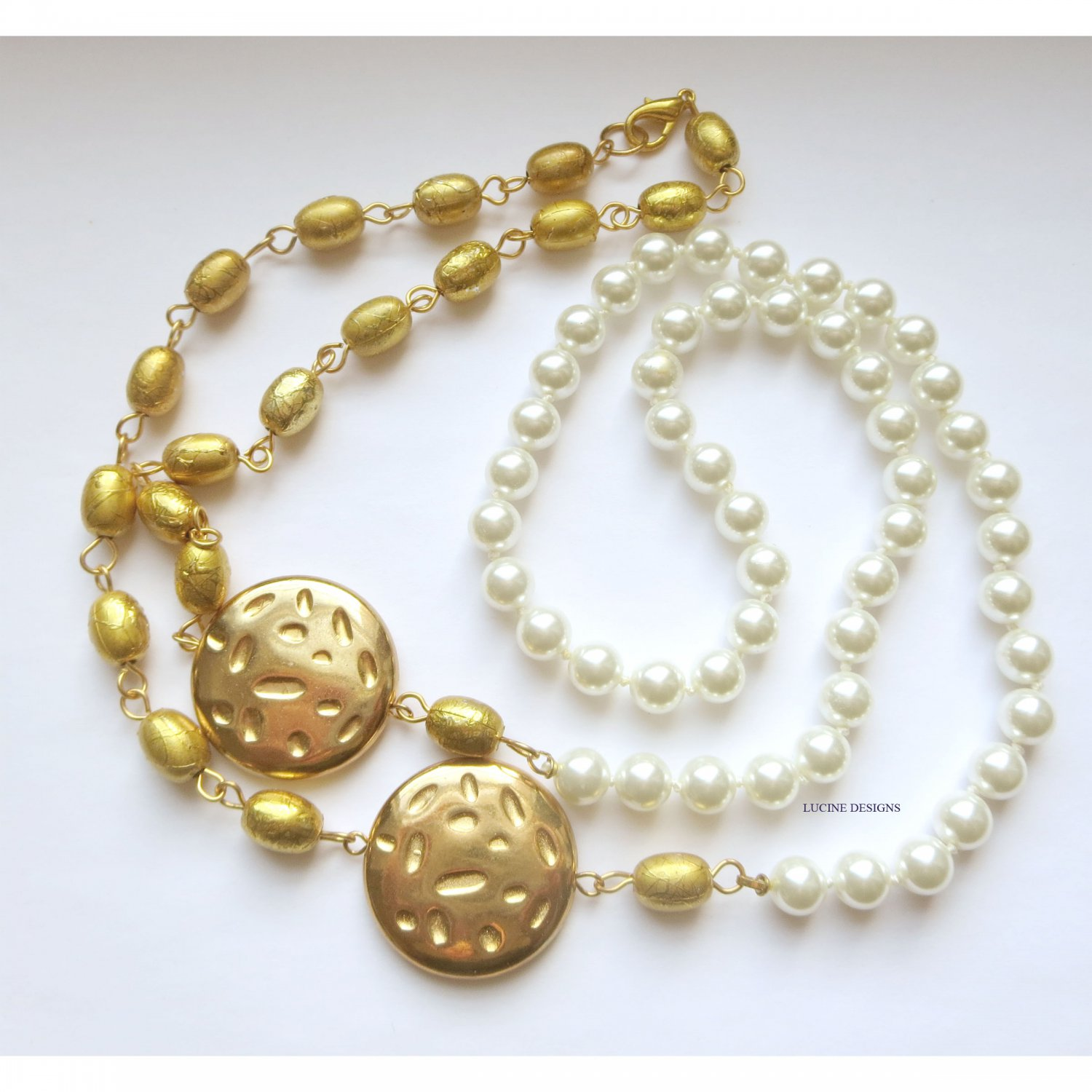 Gold and handknotted faux pearl ooak trendy long fashion necklace by Lucine