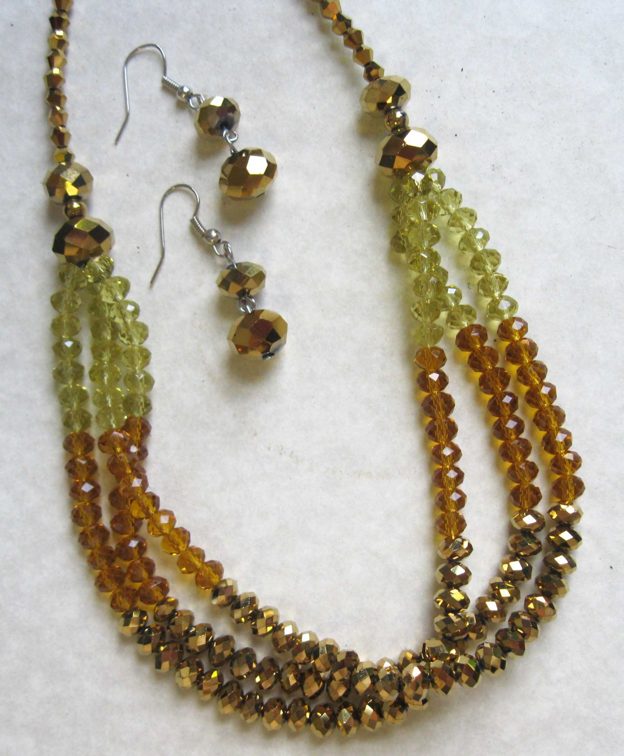 Triple row brown honey yellow fashion necklace +earrings set