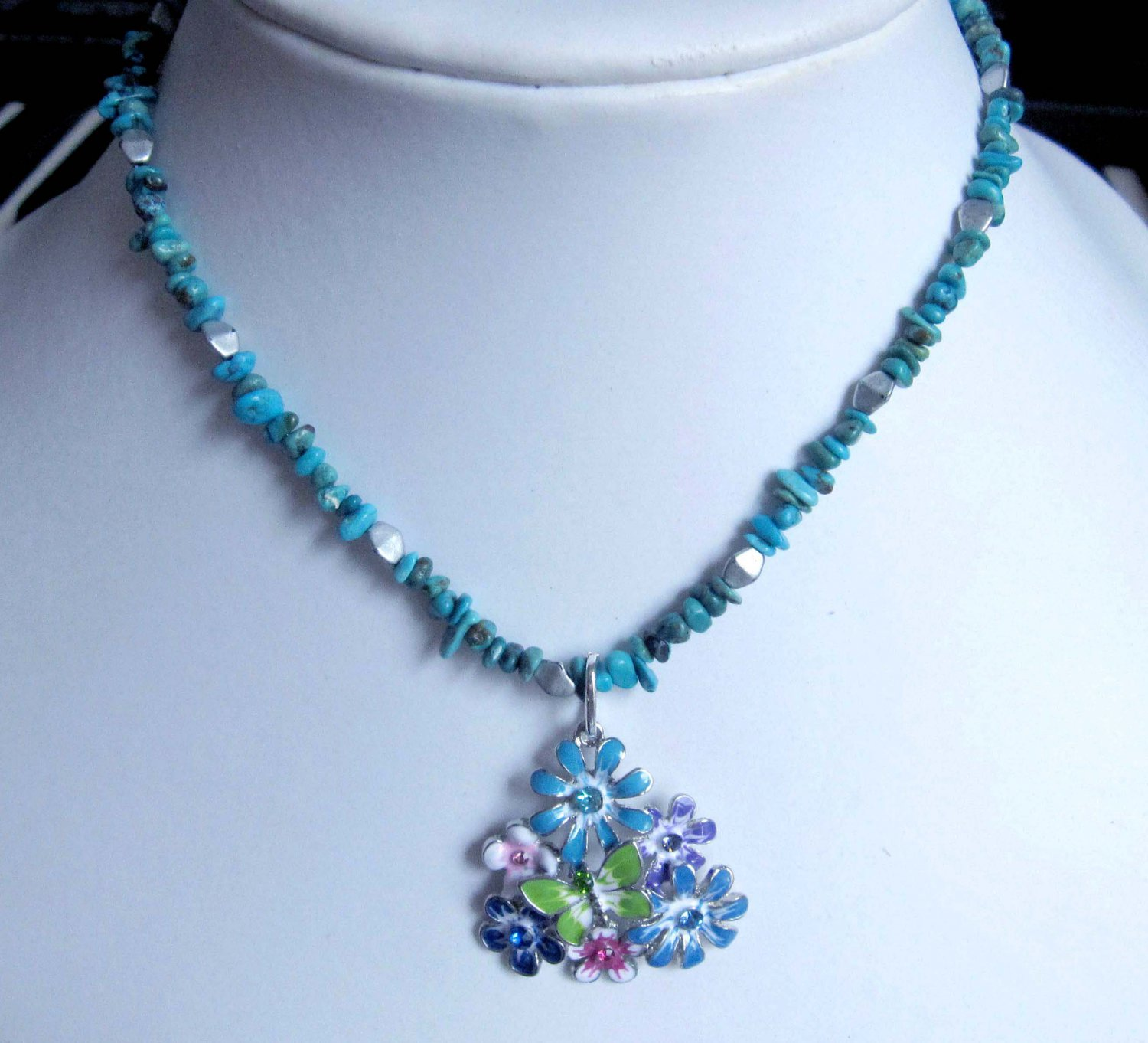Fashion jewelry designer necklace semiprecious stone turquoise multicolour flower pendant ooak