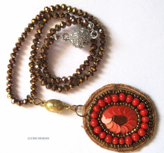 OOAK necklace fashion jewelry with orange pendant and magnetic clasp