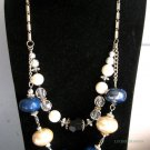 OOAK statement necklace fashion jewelry double row silver blue and white