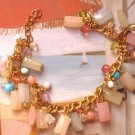 Bracelet with beads charms pastels fashion jewerly