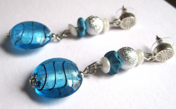 Turquoise blue silver dangle earrings fashion jewelry ooak one of a kind