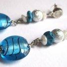 Turquoise blue silver dangle earrings fashion jewelry ooak one of a kind