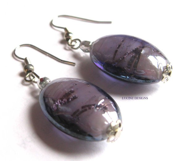 Purple dangle earrings fashion jewelry - lampwork glass
