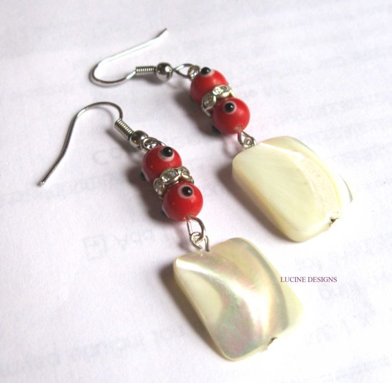 Fashion earrings good luck red evil eye earrings mother of pearl crystals nazar