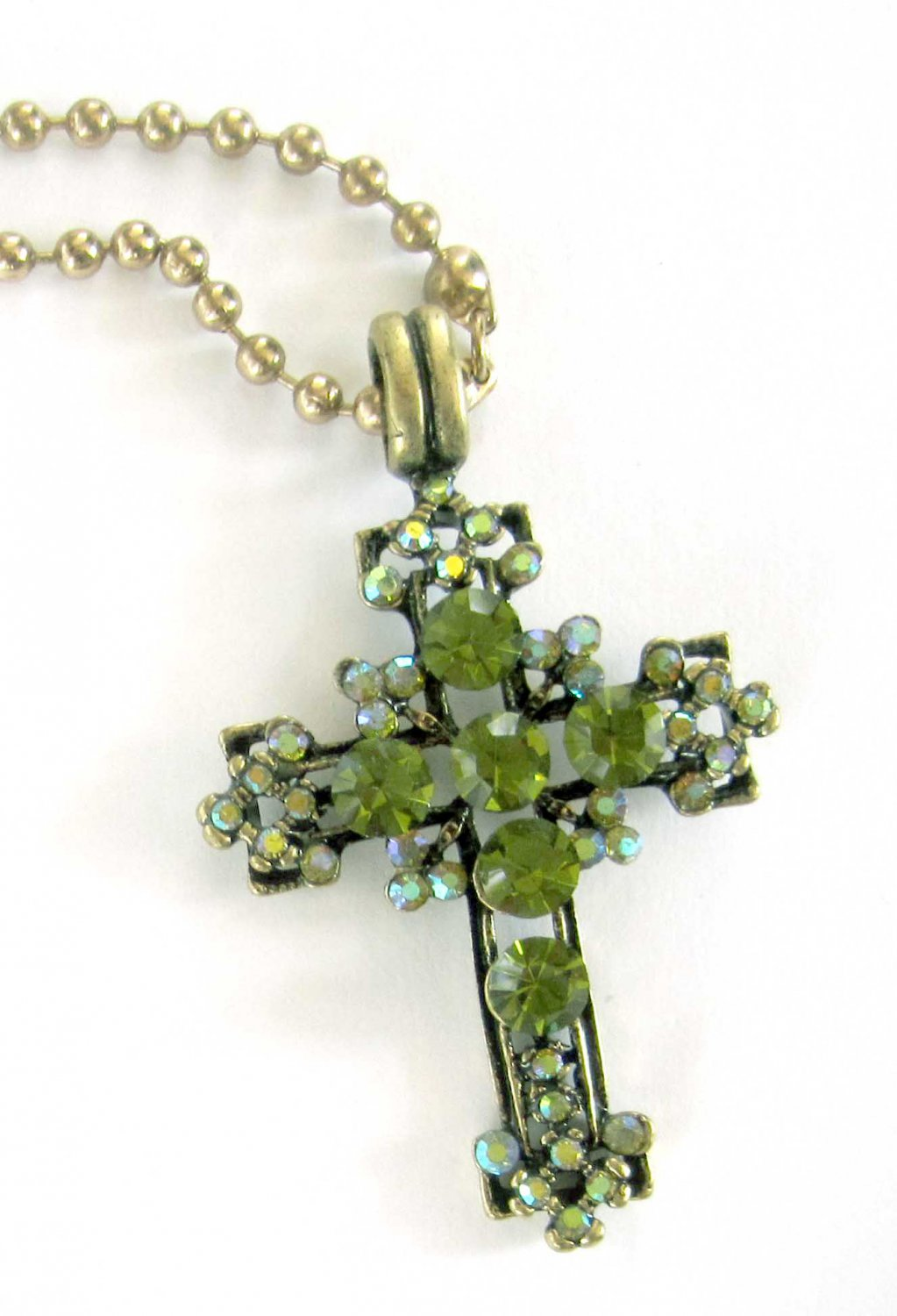 Gold necklace cross with green crystals pendant on chain