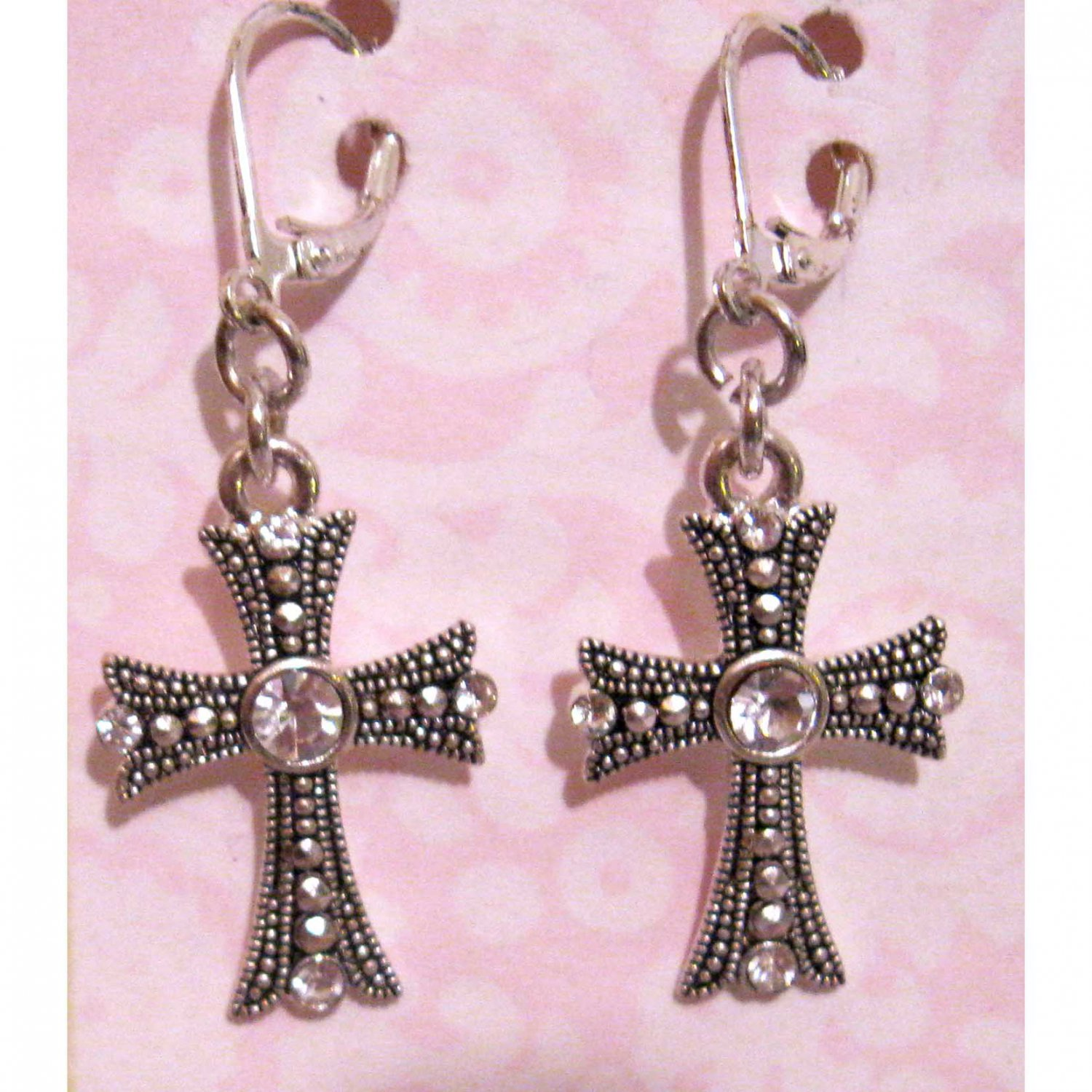 Silver cross earrings with white crystals