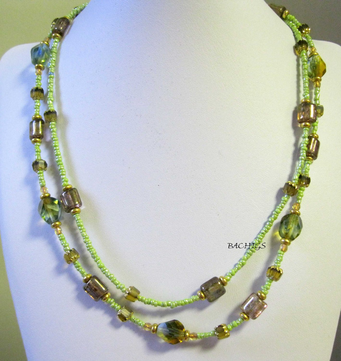 Green brown and gold fashion necklace one of a kind