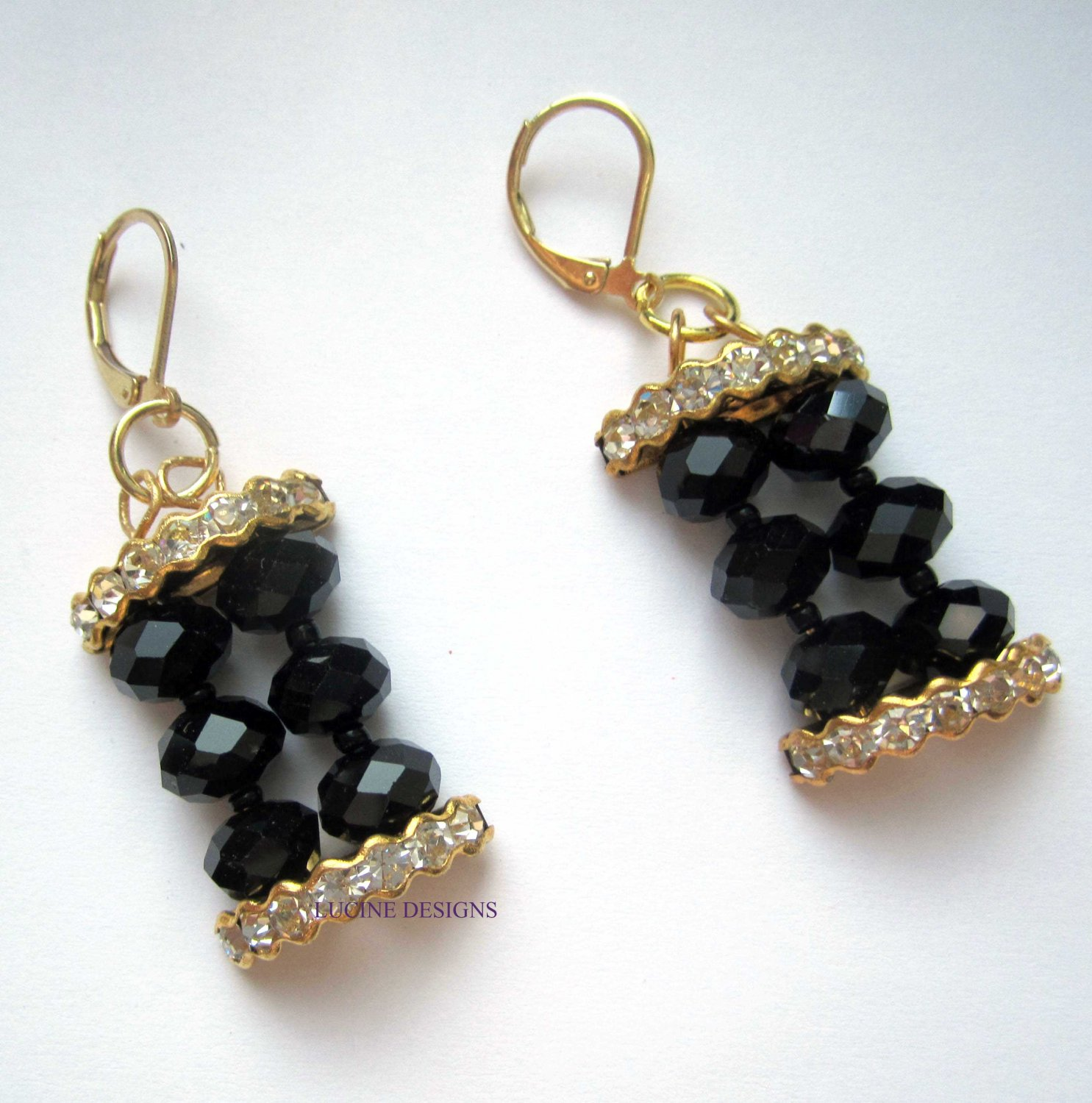 Gold black earrings with crystals fashion jewelry