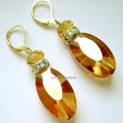 Gold earrings with crystals party stylish jewelry