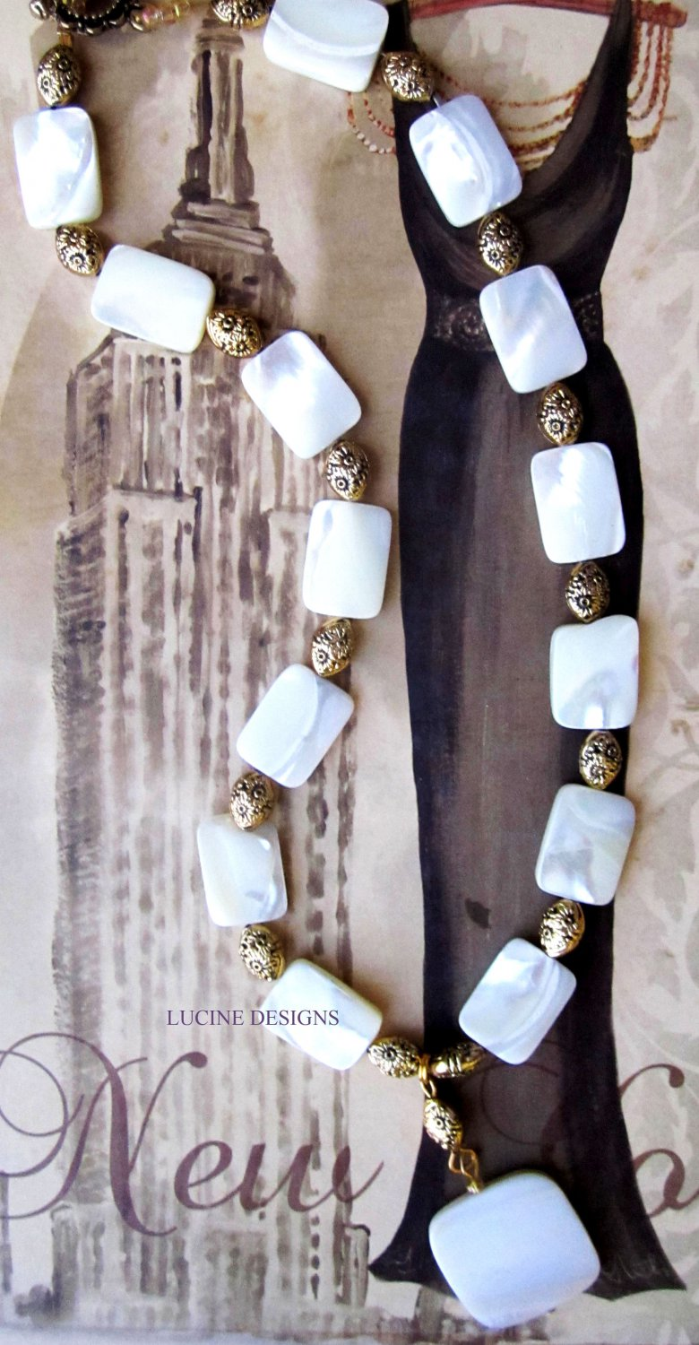 White mother of pearl necklace one of a kind jewelry by Lucine