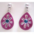 Fuschia earrings designer fashion teardrop jewelry
