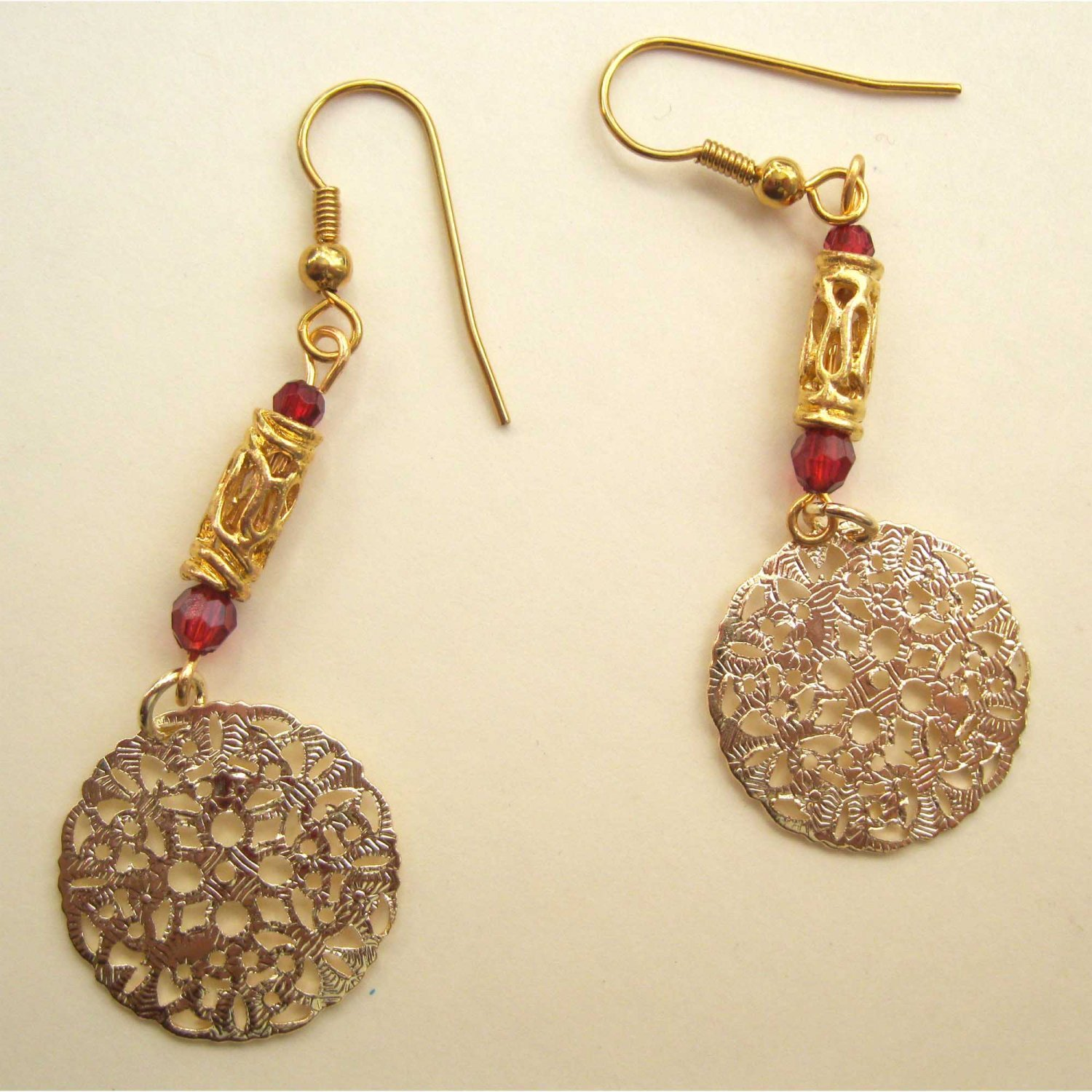 Red and gold earrings fashion drop jewelry
