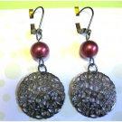 Red and gunmetal earrings fashion drop jewelry