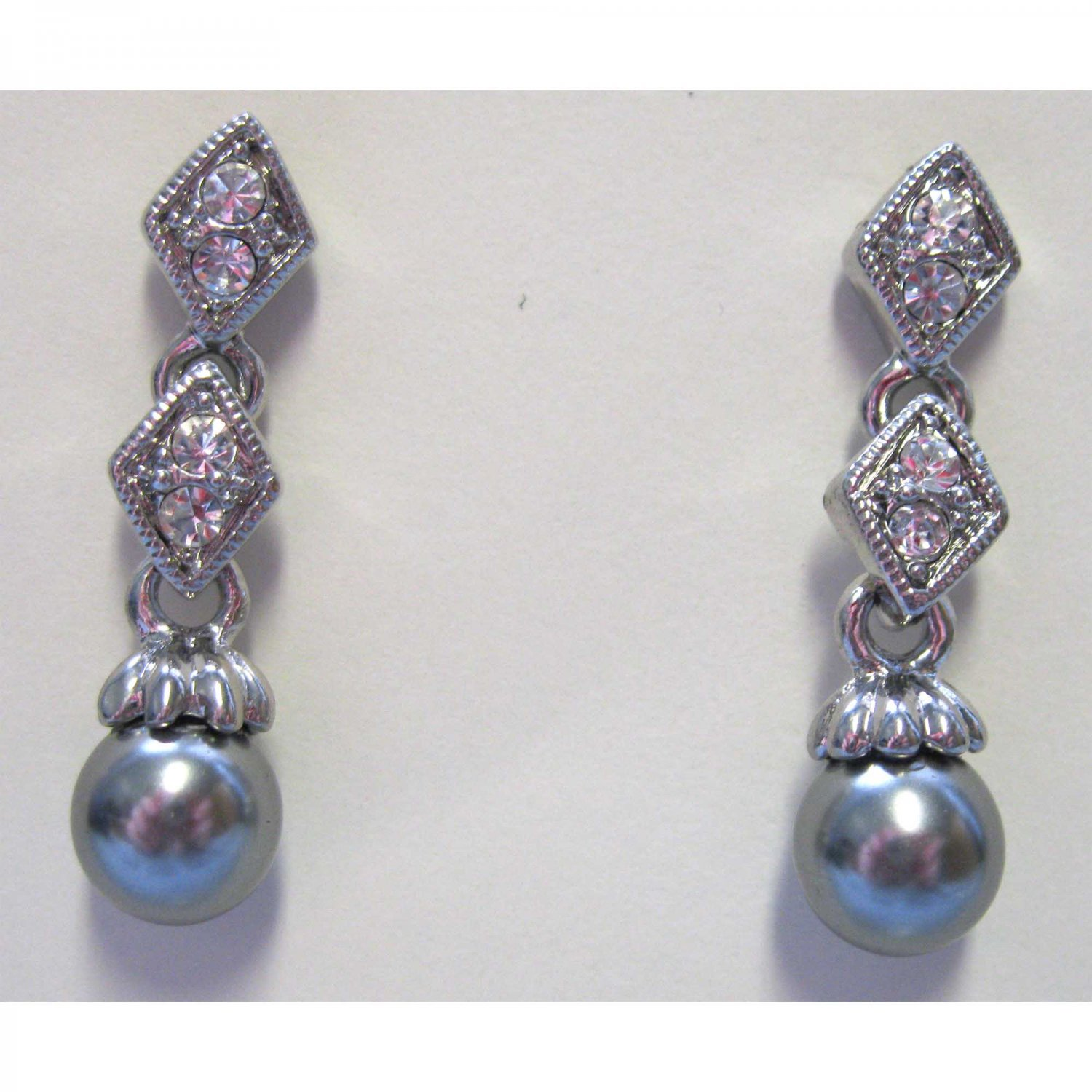 Silver earrings with crystals fashion drop jewelry