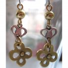 Gold earrings with heart and flower fashion drop jewelry