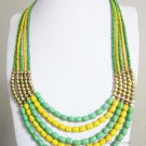 Green yellow and gold statement necklace