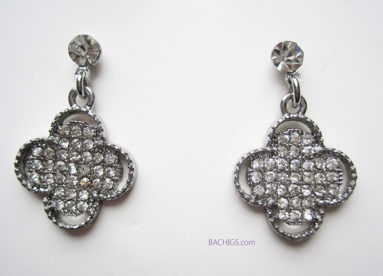 Silver earrings clover with crystals cross fashion jewelry