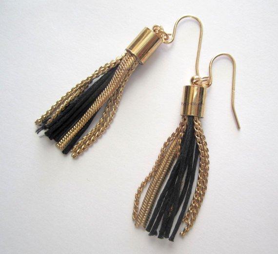 Black and gold tassel earrings {2871E}