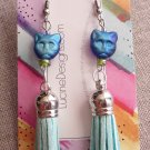Blue leather tassel and cat drop earrings fashion jewelry gift idea