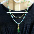 Green necklace with tassel gold boho jewelry