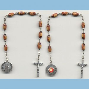 St. Benedict Chaplet 3rd Class Oval Wooden Beads SE