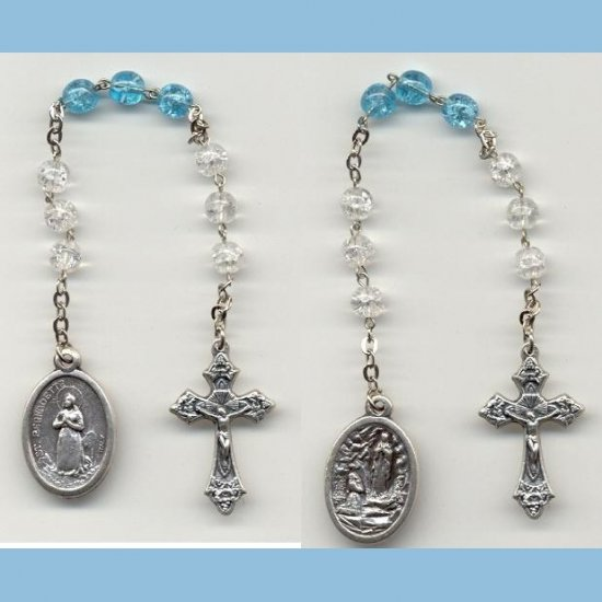 St. Bernadette/Our Lady of Lourdes Chaplet Crackle Beads