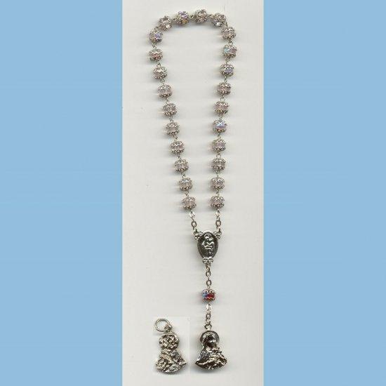 St. Therese Chaplet Capped AB Druks Rose Medal
