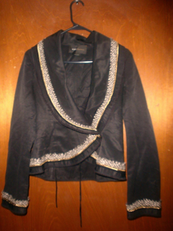 BCBGMAXAZRIA Black Gold Chain Tweed Blazer
