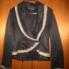 BCBGMAXAZRIA Black Gold Chain Tweed Blazer