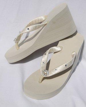 Ivory Wedge Flip Flops Wedding Sandals withCrystals and Rhinestones